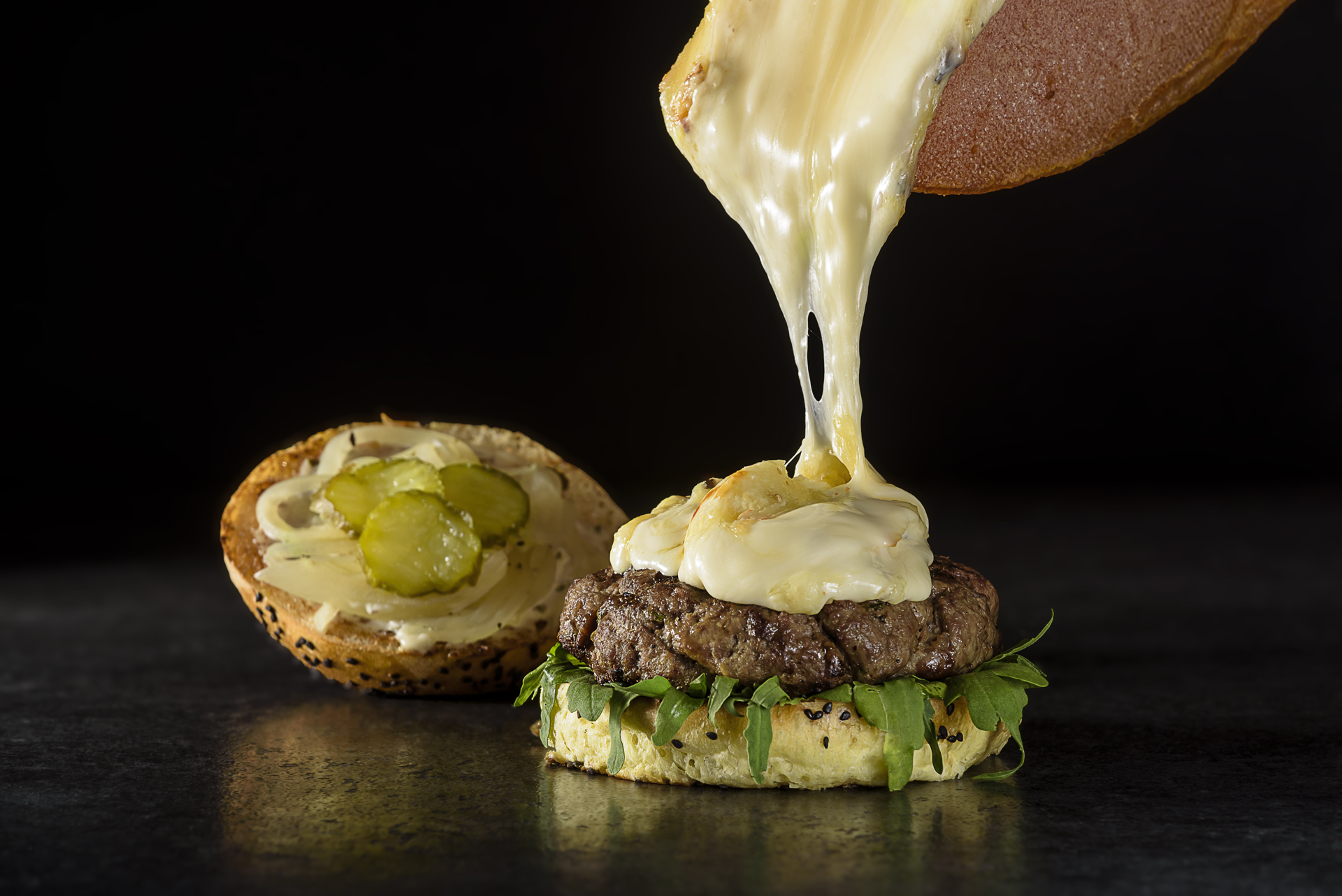 Food and product photography Butcher and Sons Hamburger Raclette Cheese