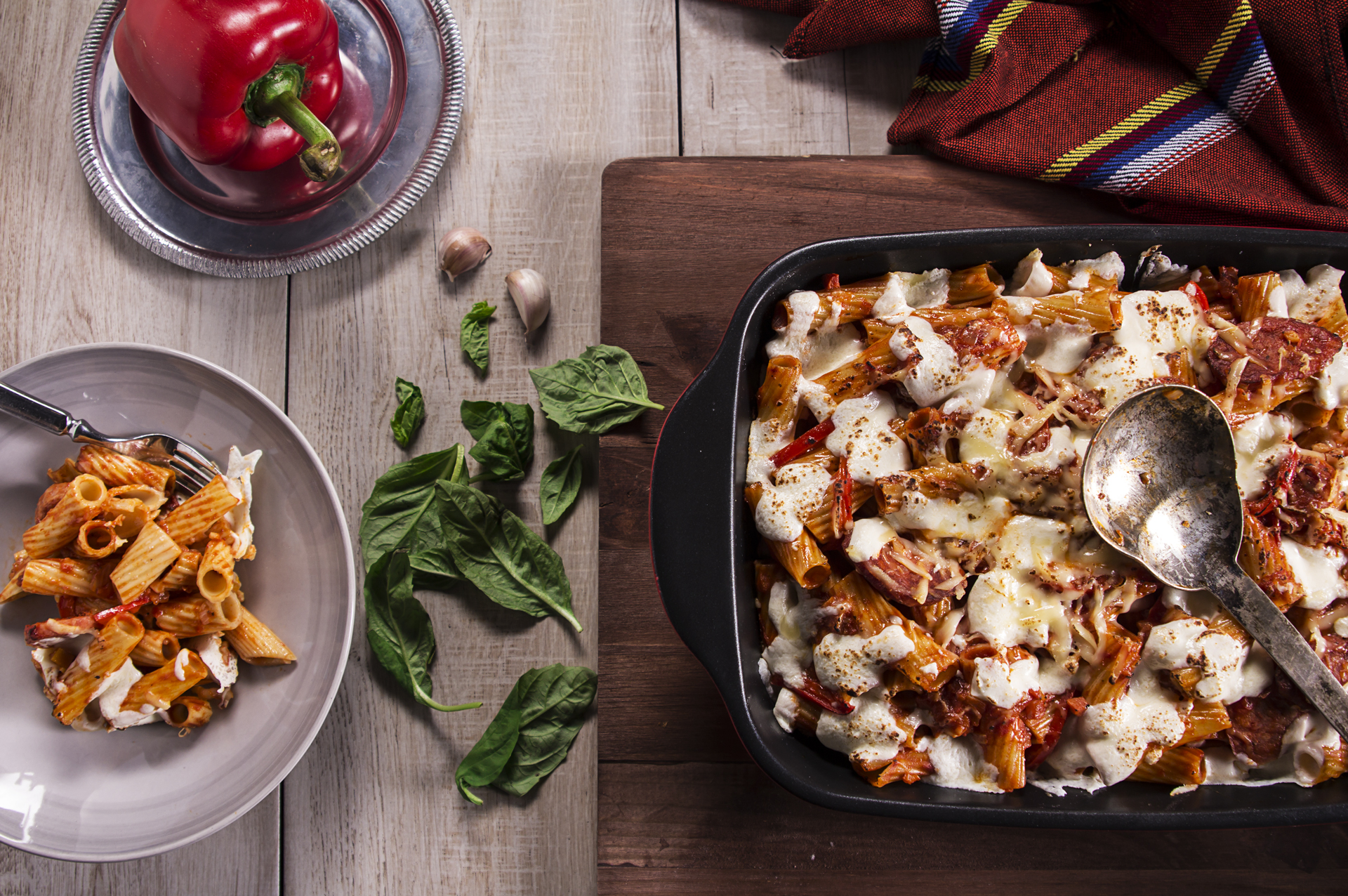 Food and product photography pasta bell peppers lurpak butter