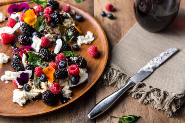 Food and product photography Lurpak Mexico berries and burrata