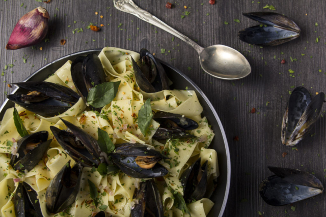 Food and product photography mussels pasta lurpak