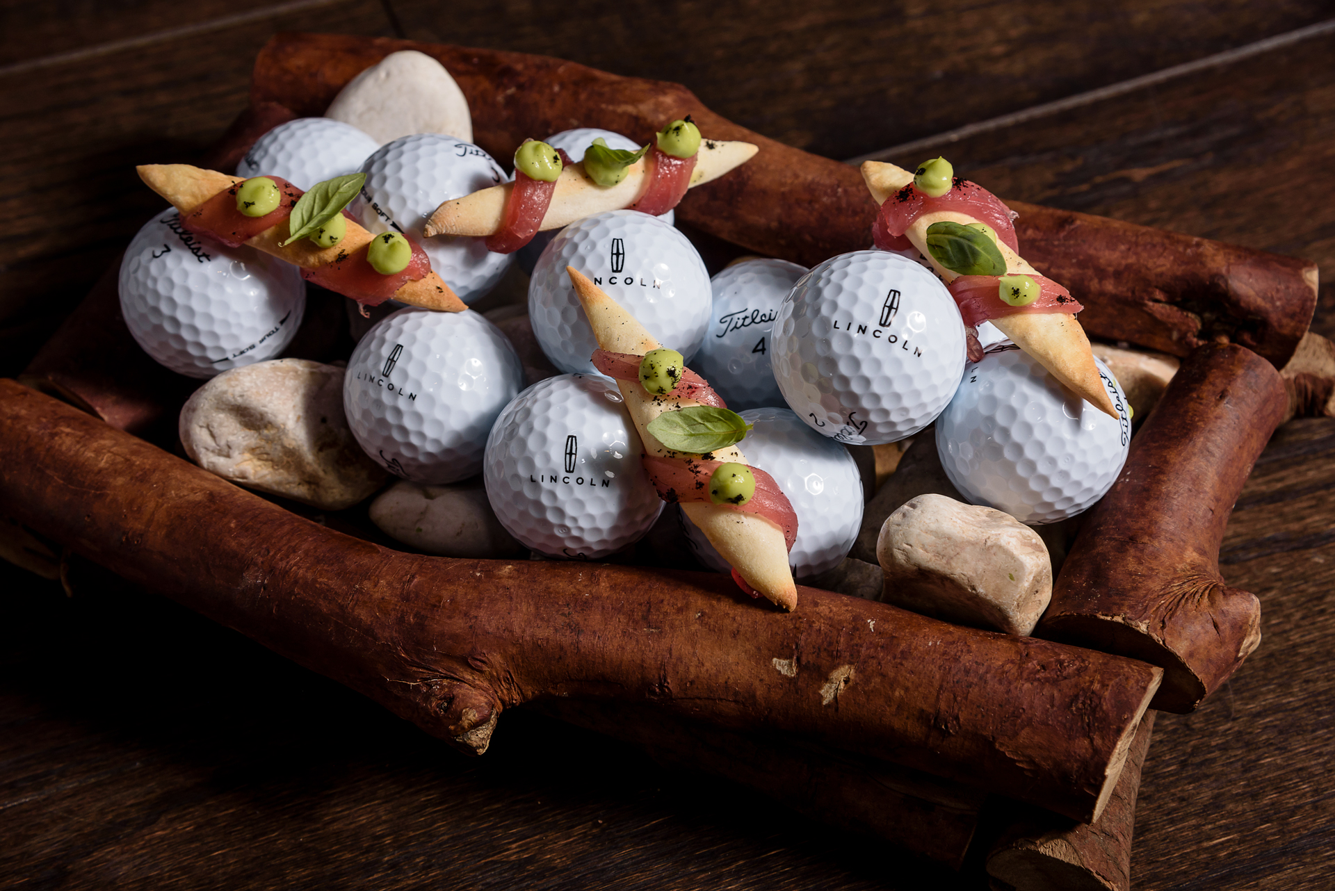Food and product photography Millesime Golf Balls Appetizer