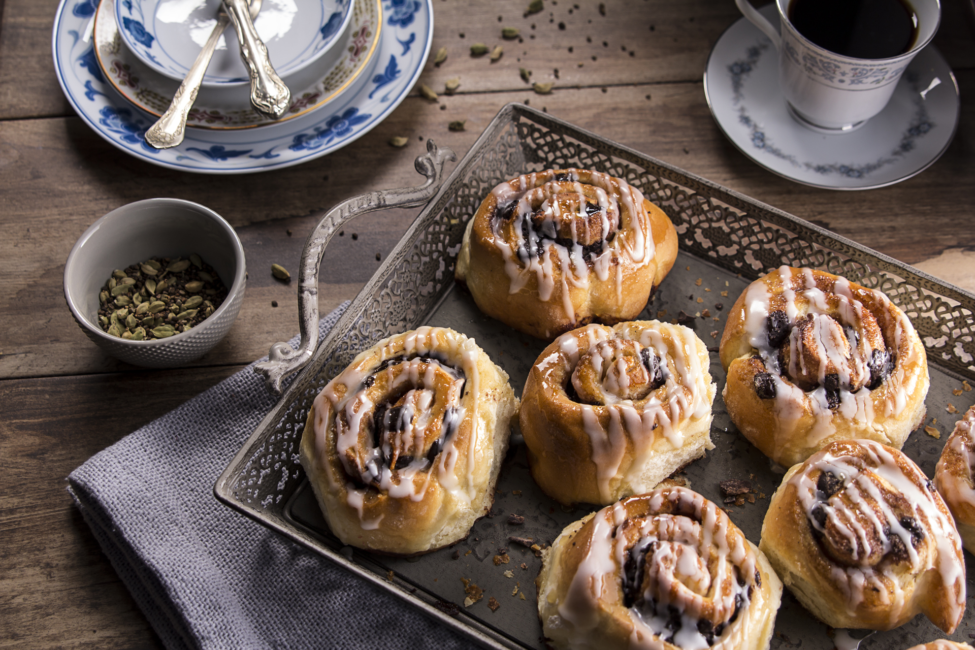 Food and product photography cardamom glaze rolls lurpak butter
